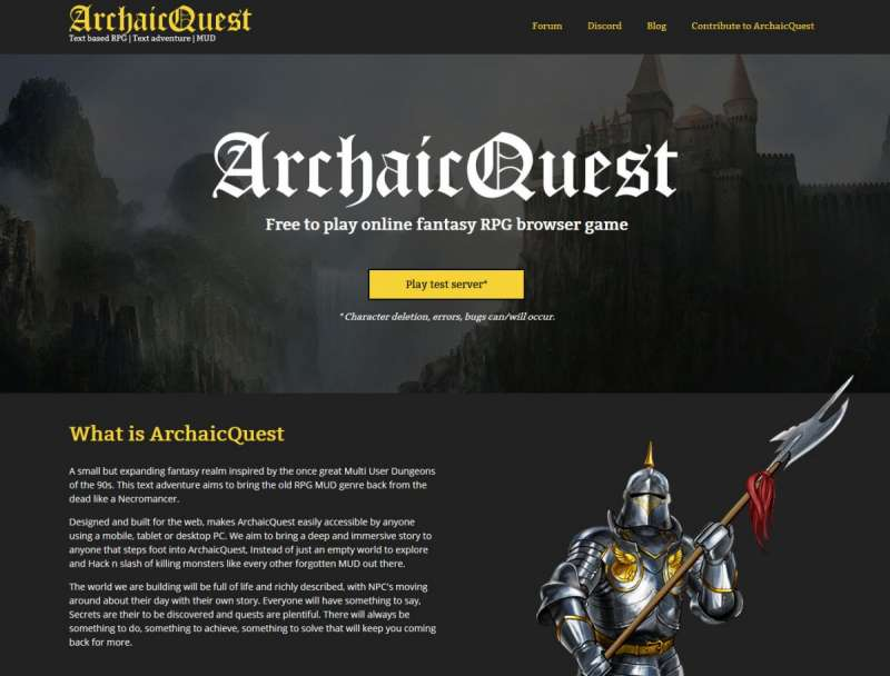 Best online games - ArchaicQuest
